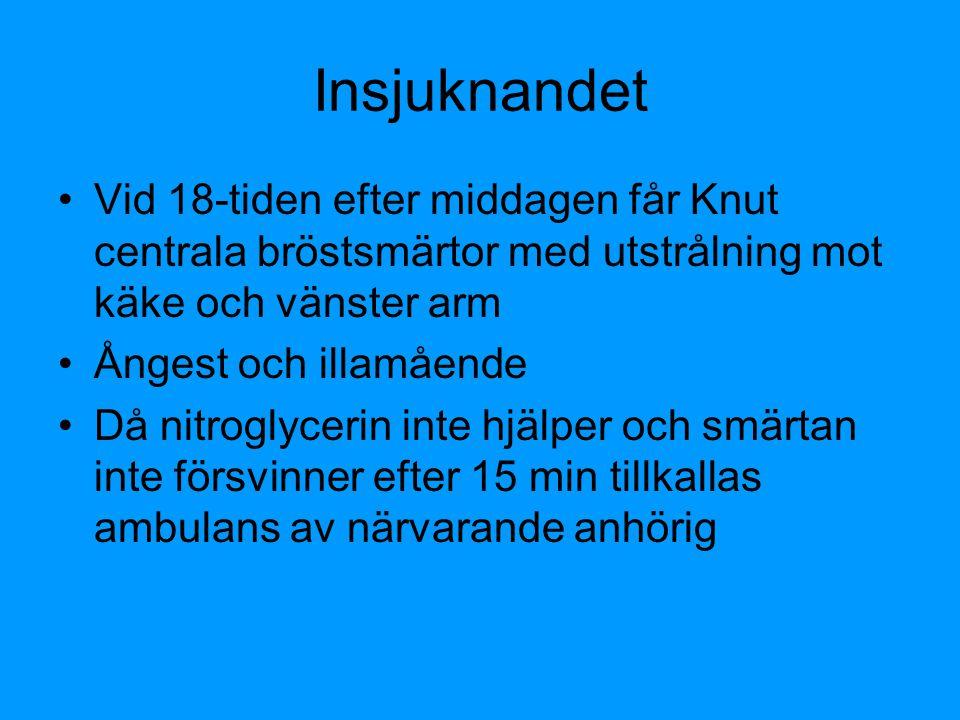 Insjuknandet Vid 18-tiden efter middagen får Knut centrala bröstsmärtor med utstrålning mot käke och vänster arm Ångest och illamående Då nitroglyceri