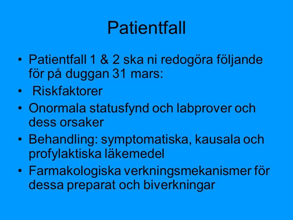 Patientfall Patientfall 1 & 2 ska ni redogöra följande för på duggan 31 mars: Riskfaktorer Onormala statusfynd och labprover och dess orsaker Behandli