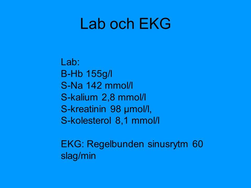 Lab och EKG Lab: B-Hb 155g/l S-Na 142 mmol/l S-kalium 2,8 mmol/l S-kreatinin 98 µmol/l, S-kolesterol 8,1 mmol/l EKG: Regelbunden sinusrytm 60 slag/min
