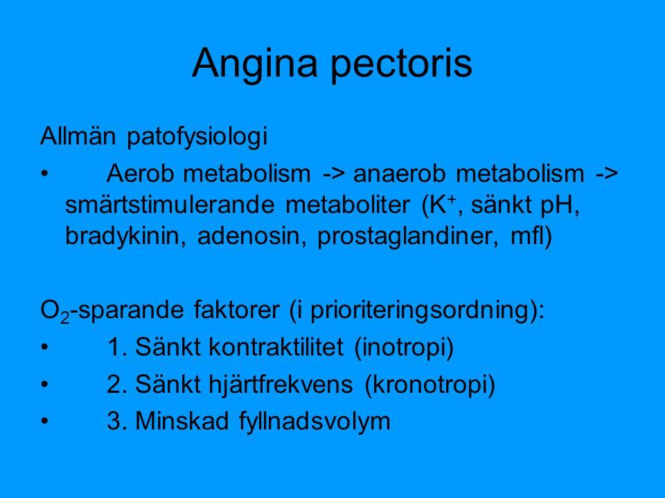 Angina pectoris Allmän patofysiologi Aerob metabolism -> anaerob metabolism -> smärtstimulerande metaboliter (K +, sänkt pH, bradykinin, adenosin, pro