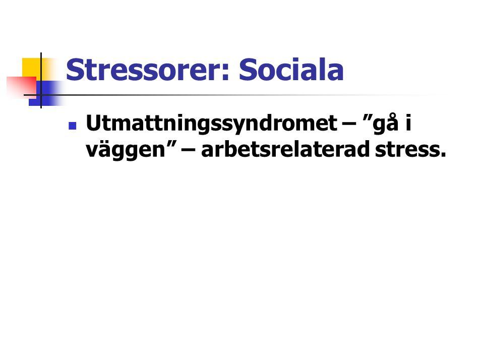 """Stressorer: Sociala Utmattningssyndromet – """"gå i väggen"""" – arbetsrelaterad stress."""