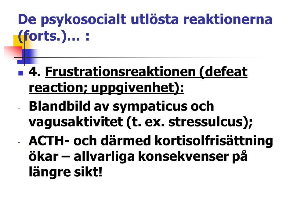 De psykosocialt utlösta reaktionerna (forts.)… : 4. Frustrationsreaktionen (defeat reaction; uppgivenhet): - Blandbild av sympaticus och vagusaktivite