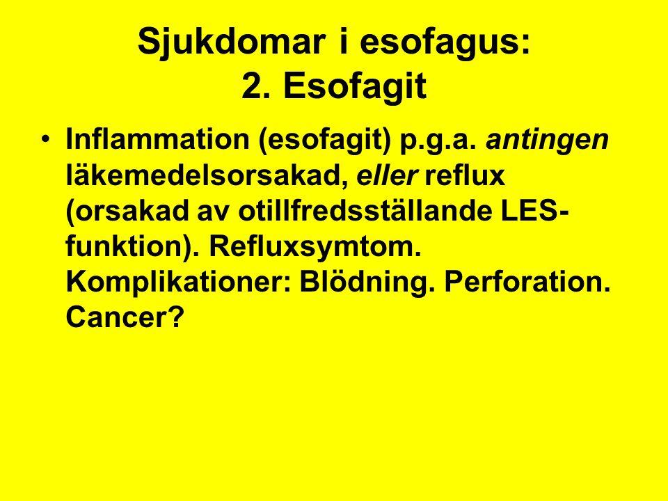 Sjukdomar i esofagus: 2. Esofagit Inflammation (esofagit) p.g.a. antingen läkemedelsorsakad, eller reflux (orsakad av otillfredsställande LES- funktio