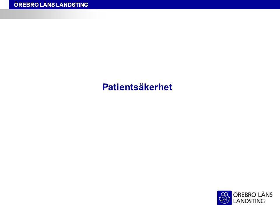 ÖREBRO LÄNS LANDSTING Är en överenskommelse mellan regering och SKL Satsningen handlar om: -att stödja implementeringen av den nya patientsäkerhetsreformen -att med patientens behov i centrum uppmuntra, stärka och intensifiera patientsäkerhetsarbetet samt -att skapa en säkrare vård Patientsäkerhetssatsning 2011
