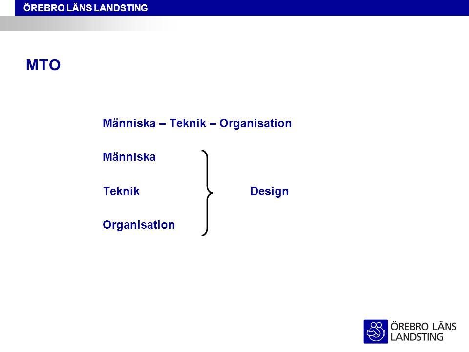 ÖREBRO LÄNS LANDSTING MTO Människa – Teknik – Organisation Människa TeknikDesign Organisation