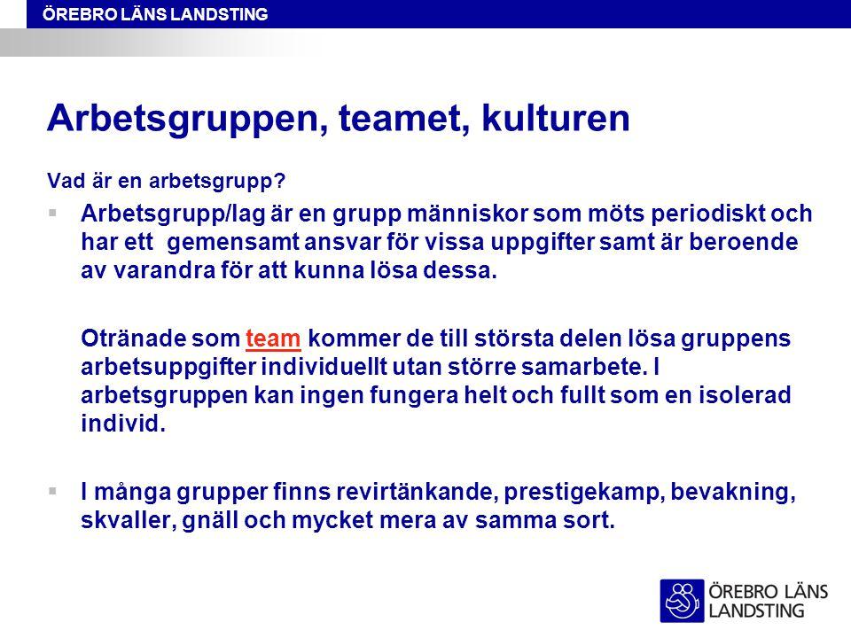 ÖREBRO LÄNS LANDSTING Arbetsgruppen, teamet, kulturen Vad är en arbetsgrupp?  Arbetsgrupp/lag är en grupp människor som möts periodiskt och har ett g