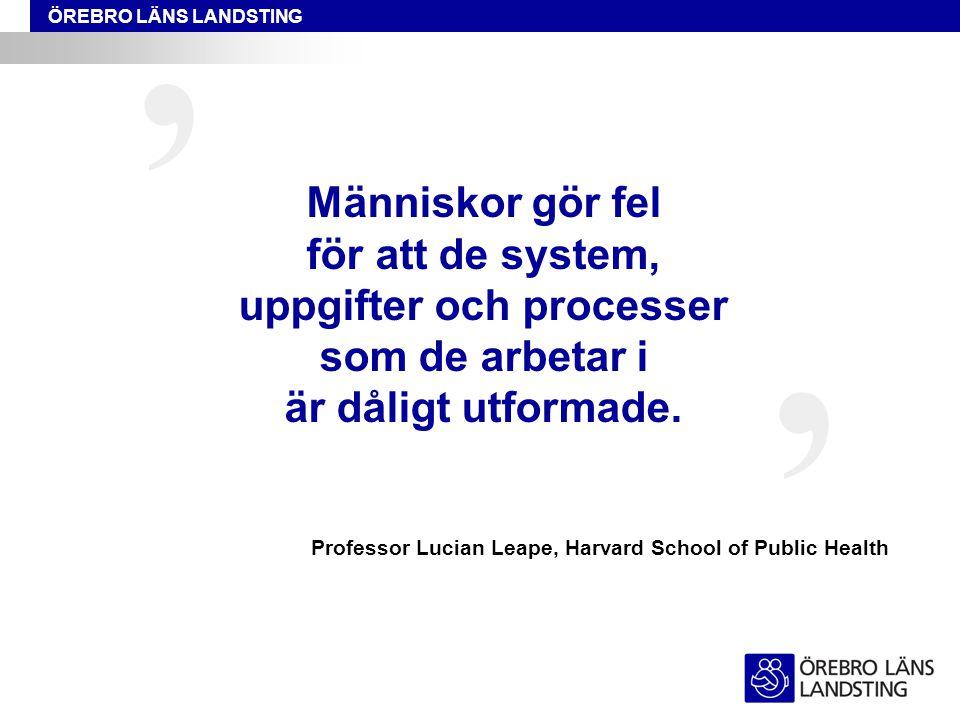 ÖREBRO LÄNS LANDSTING Människor gör fel för att de system, uppgifter och processer som de arbetar i är dåligt utformade. ' ' Professor Lucian Leape, H