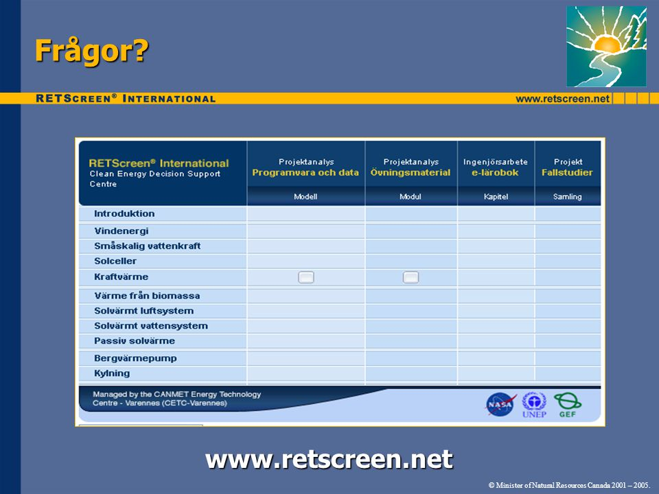 Frågor www.retscreen.net www.retscreen.net © Minister of Natural Resources Canada 2001 – 2005.