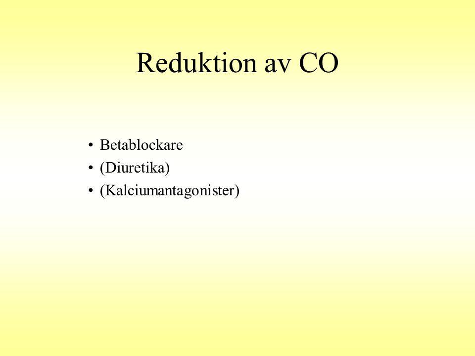Reduktion av CO Betablockare (Diuretika) (Kalciumantagonister)