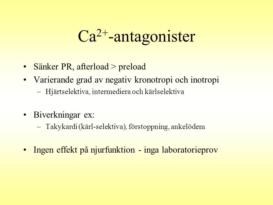 Ca 2+ -antagonister Sänker PR, afterload > preload Varierande grad av negativ kronotropi och inotropi –Hjärtselektiva, intermediera och kärlselektiva