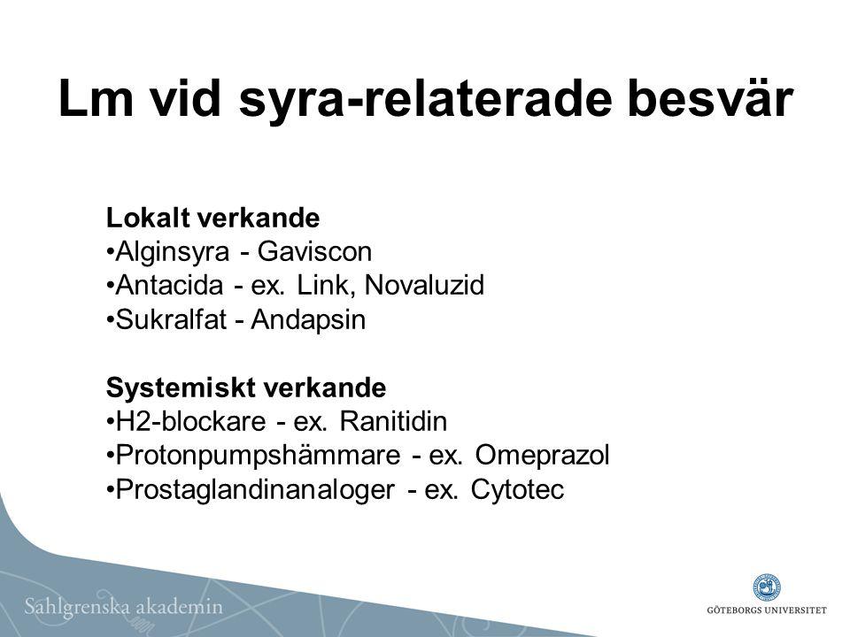 Lm vid syra-relaterade besvär Lokalt verkande Alginsyra - Gaviscon Antacida - ex. Link, Novaluzid Sukralfat - Andapsin Systemiskt verkande H2-blockare