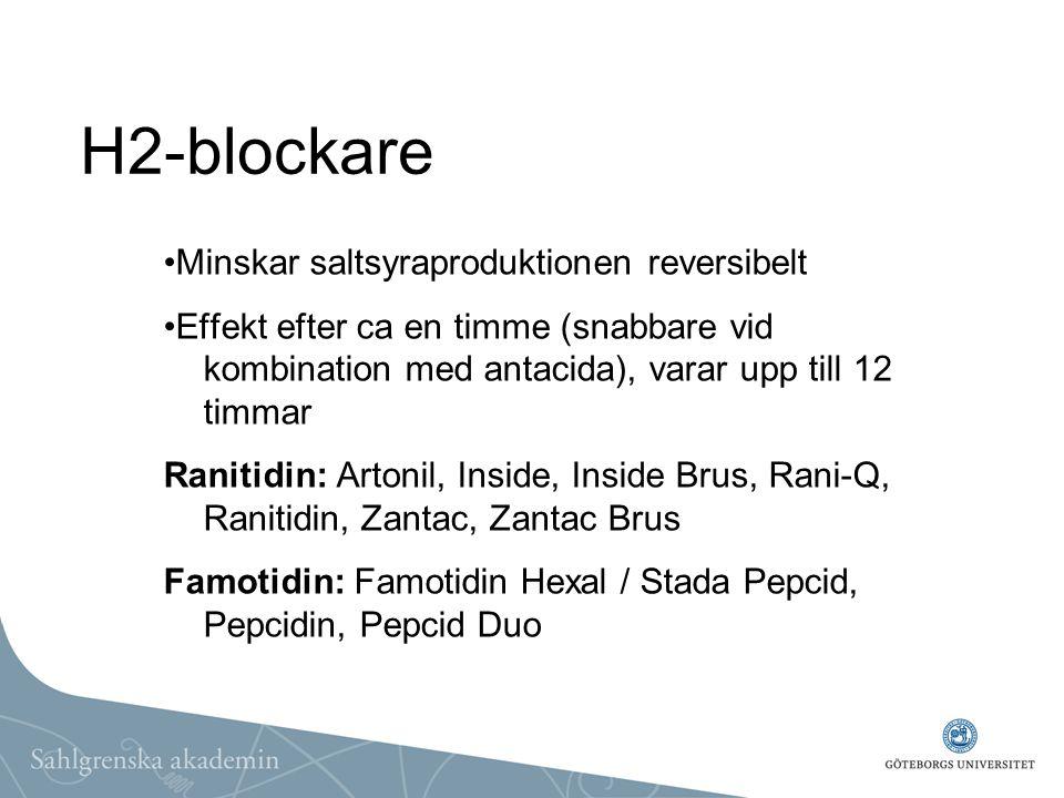 H2-blockare Minskar saltsyraproduktionen reversibelt Effekt efter ca en timme (snabbare vid kombination med antacida), varar upp till 12 timmar Raniti