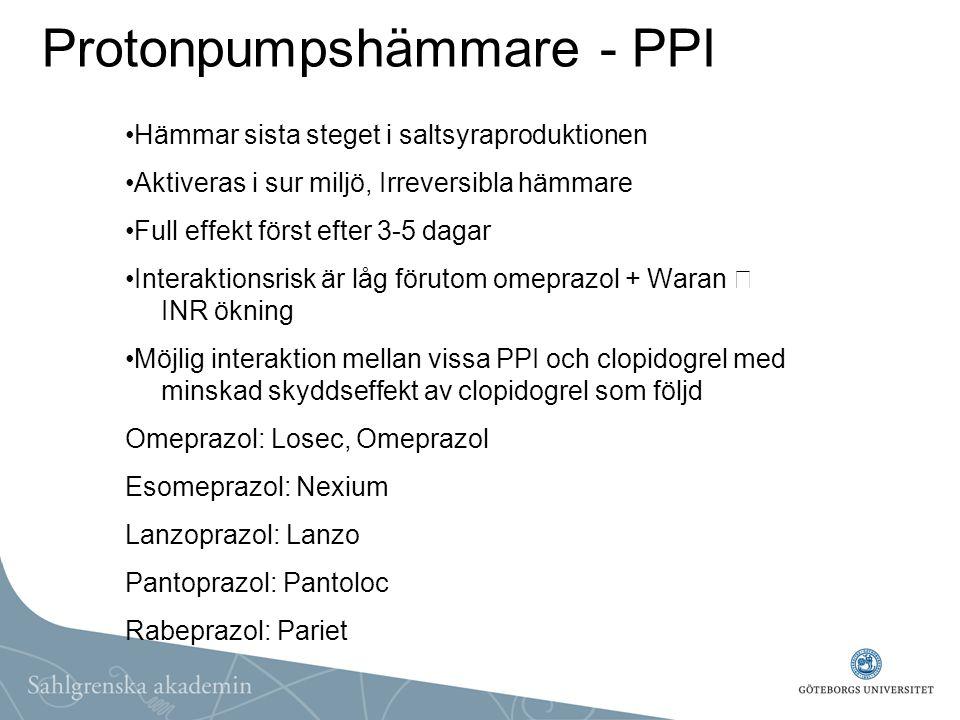 Protonpumpshämmare - PPI Hämmar sista steget i saltsyraproduktionen Aktiveras i sur miljö, Irreversibla hämmare Full effekt först efter 3-5 dagar Inte
