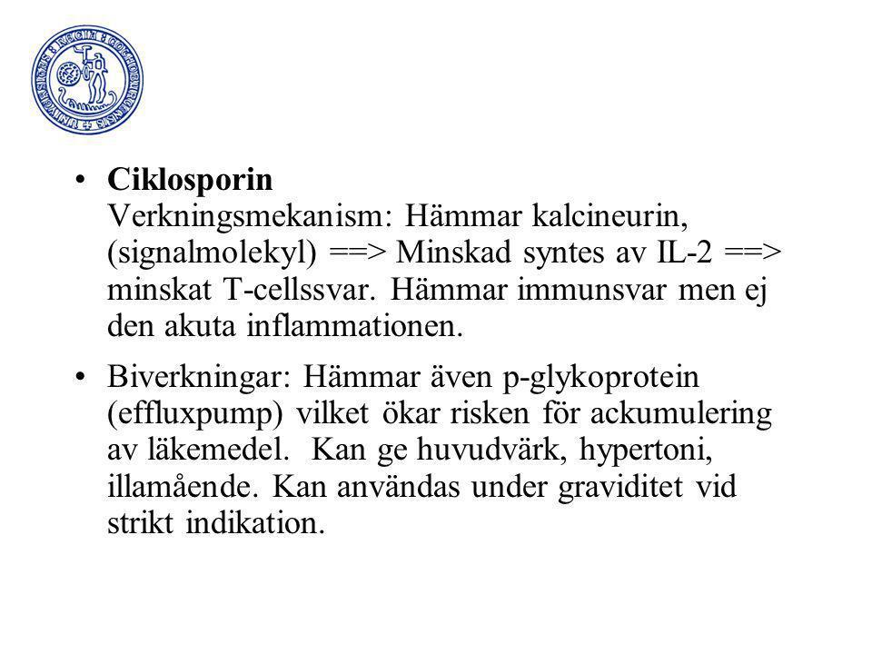 Ciklosporin Verkningsmekanism: Hämmar kalcineurin, (signalmolekyl) ==> Minskad syntes av IL-2 ==> minskat T-cellssvar. Hämmar immunsvar men ej den aku