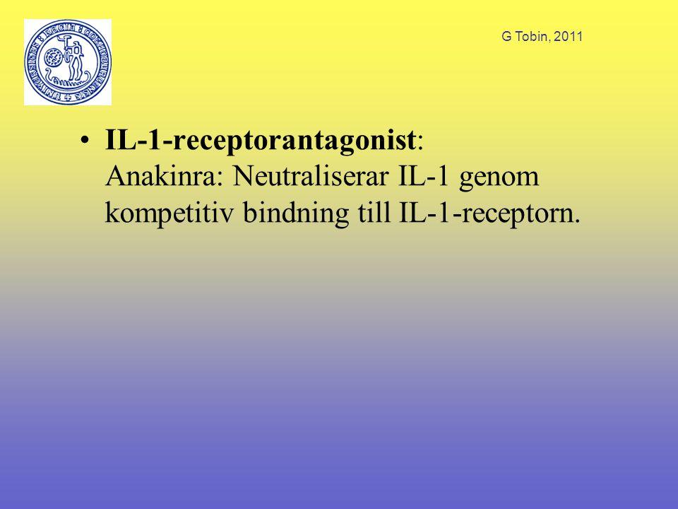 G Tobin, 2011 IL-1-receptorantagonist: Anakinra: Neutraliserar IL-1 genom kompetitiv bindning till IL-1-receptorn.