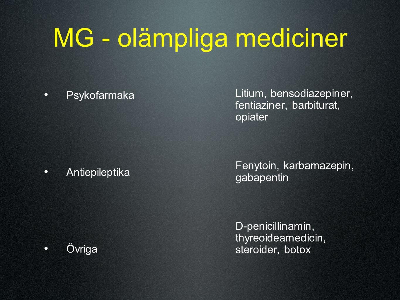 MG - olämpliga mediciner Psykofarmaka Antiepileptika Övriga Litium, bensodiazepiner, fentiaziner, barbiturat, opiater Fenytoin, karbamazepin, gabapent