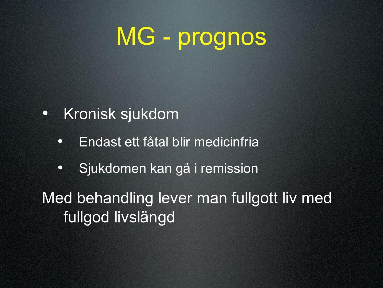 MG - prognos Kronisk sjukdom Endast ett fåtal blir medicinfria Sjukdomen kan gå i remission Med behandling lever man fullgott liv med fullgod livsläng