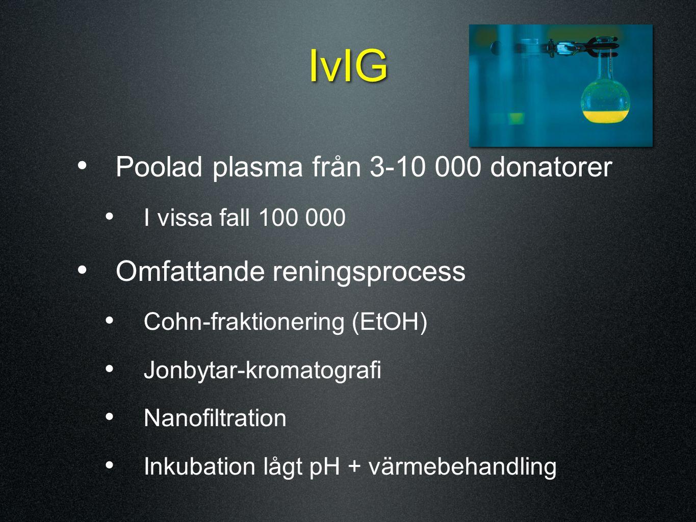 IvIG Poolad plasma från 3-10 000 donatorer I vissa fall 100 000 Omfattande reningsprocess Cohn-fraktionering (EtOH) Jonbytar-kromatografi Nanofiltrati
