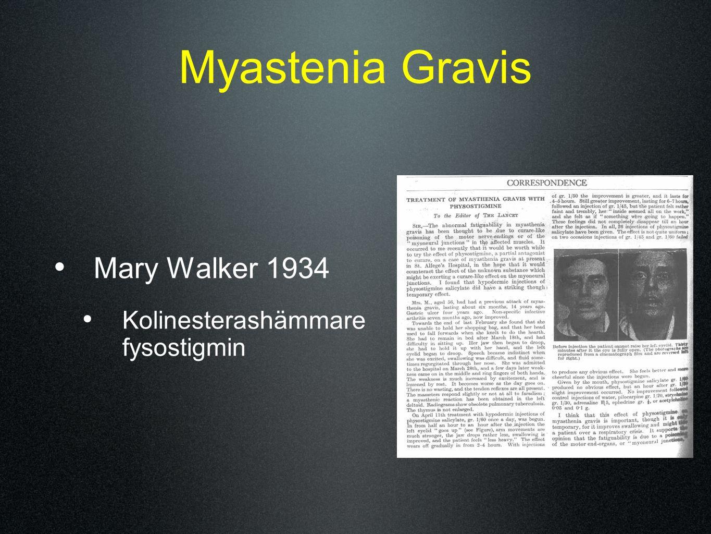 Myastenia Gravis Mary Walker 1934 Kolinesterashämmare fysostigmin