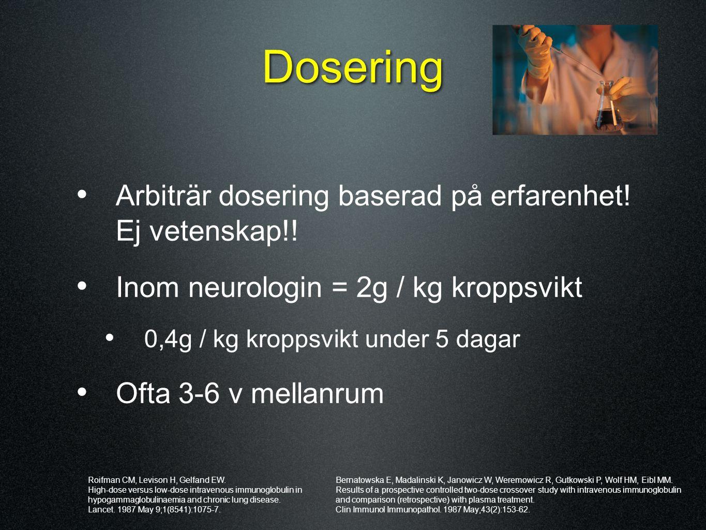 Dosering Arbiträr dosering baserad på erfarenhet! Ej vetenskap!! Inom neurologin = 2g / kg kroppsvikt 0,4g / kg kroppsvikt under 5 dagar Ofta 3-6 v me