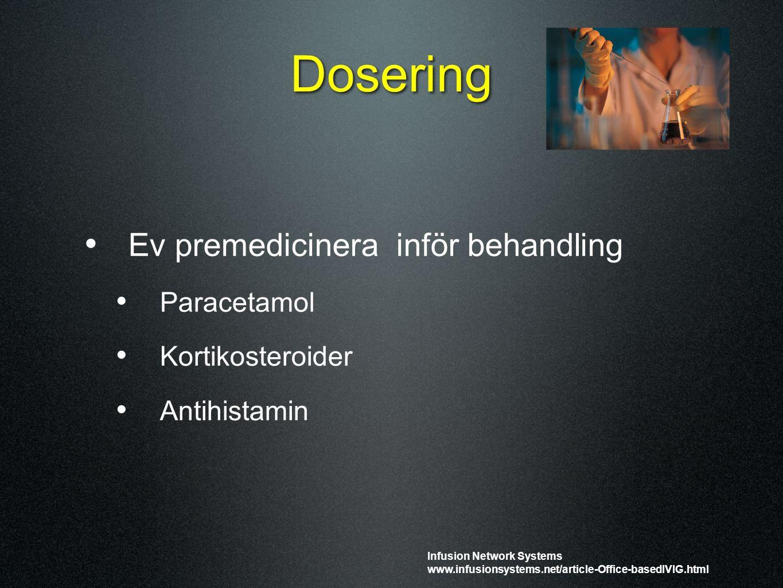 Dosering Ev premedicinera inför behandling Paracetamol Kortikosteroider Antihistamin Infusion Network Systems www.infusionsystems.net/article-Office-b