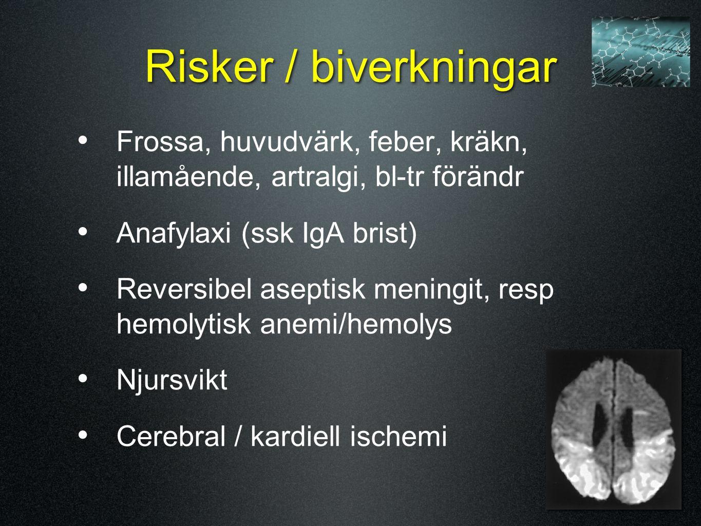 Risker / biverkningar Frossa, huvudvärk, feber, kräkn, illamående, artralgi, bl-tr förändr Anafylaxi (ssk IgA brist) Reversibel aseptisk meningit, res