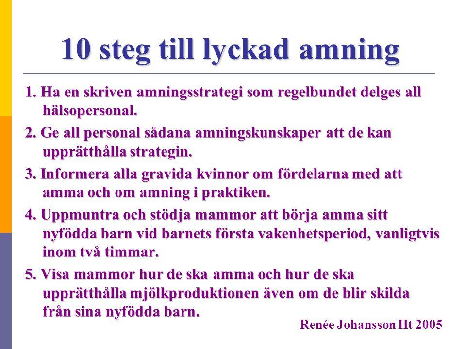 10 steg till lyckad amning 1. Ha en skriven amningsstrategi som regelbundet delges all hälsopersonal. 2. Ge all personal sådana amningskunskaper att d
