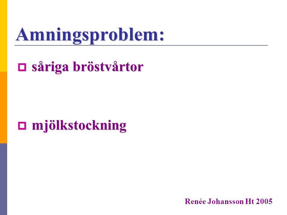 Amningshjälpmedel:  bröstvårtsskydd  handpump  amningsnapp Renée Johansson Ht 2005