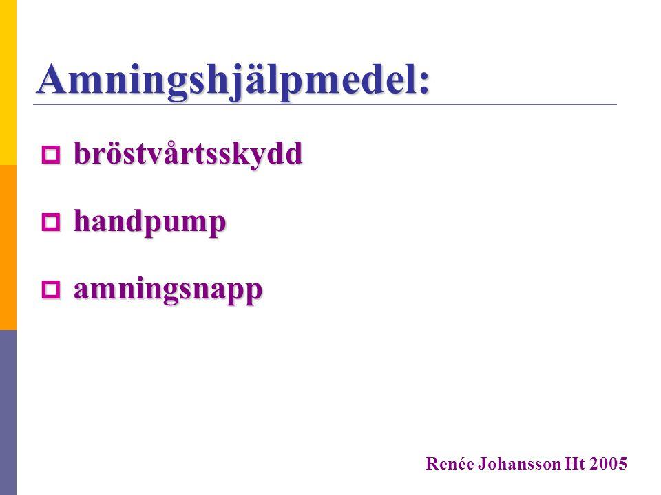 Amningshjälp:  amningshjälpens lokalgrupp Göteborg  www.amningshjälpen.se www.amningshjälpen.se  BVC Renée Johansson Ht 2005