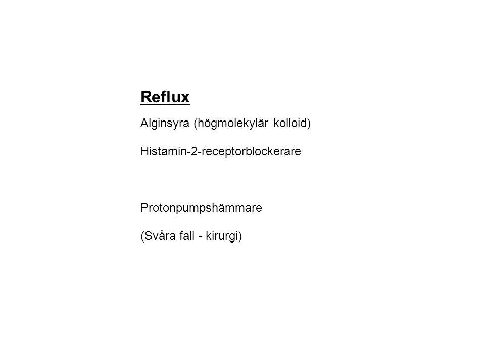 Reflux Alginsyra (högmolekylär kolloid) Histamin-2-receptorblockerare Protonpumpshämmare (Svåra fall - kirurgi)