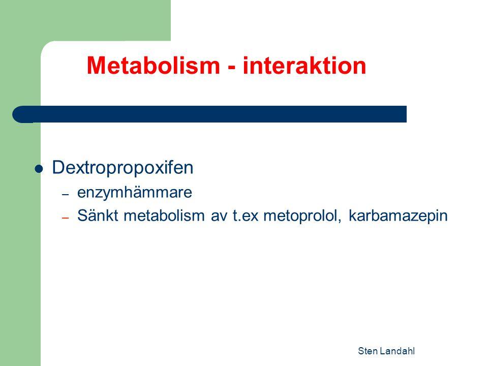 Sten Landahl Metabolism - interaktion Dextropropoxifen – enzymhämmare – Sänkt metabolism av t.ex metoprolol, karbamazepin