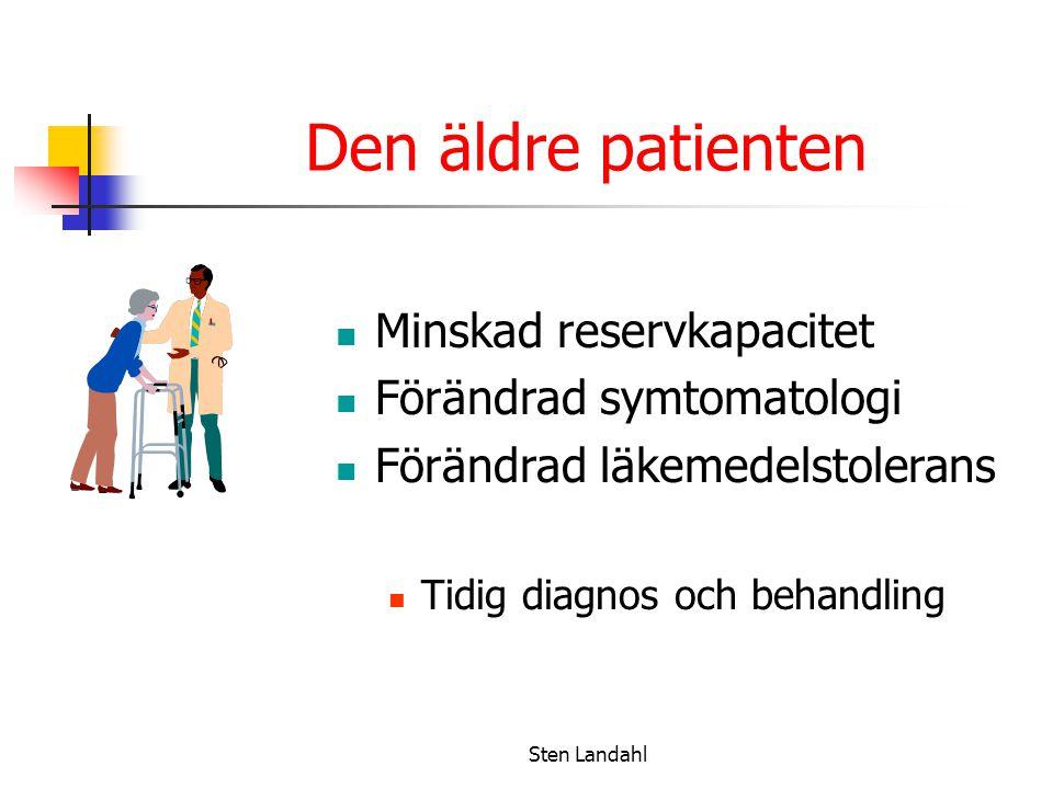 Sten Landahl Den äldre patienten Minskad reservkapacitet Förändrad symtomatologi Förändrad läkemedelstolerans Tidig diagnos och behandling