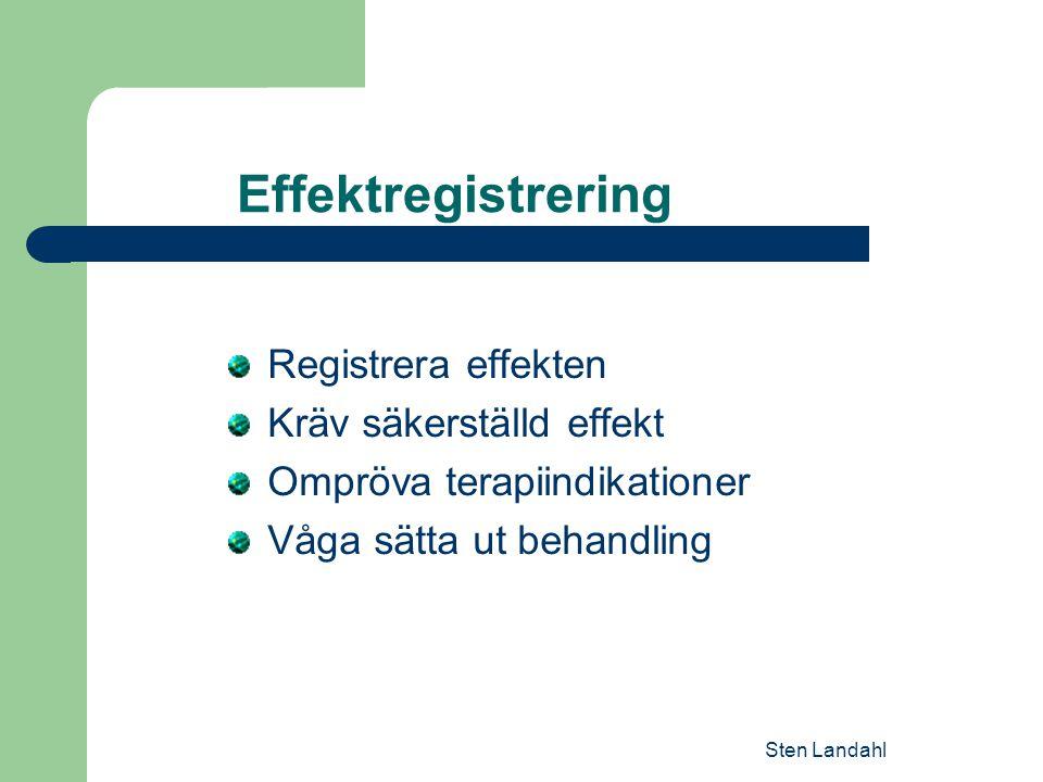 Sten Landahl Effektregistrering Registrera effekten Kräv säkerställd effekt Ompröva terapiindikationer Våga sätta ut behandling