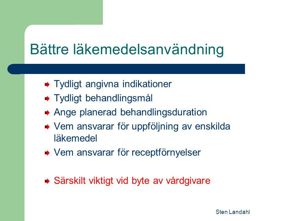 Sten Landahl Bättre läkemedelsanvändning Tydligt angivna indikationer Tydligt behandlingsmål Ange planerad behandlingsduration Vem ansvarar för uppföljning av enskilda läkemedel Vem ansvarar för receptförnyelser Särskilt viktigt vid byte av vårdgivare