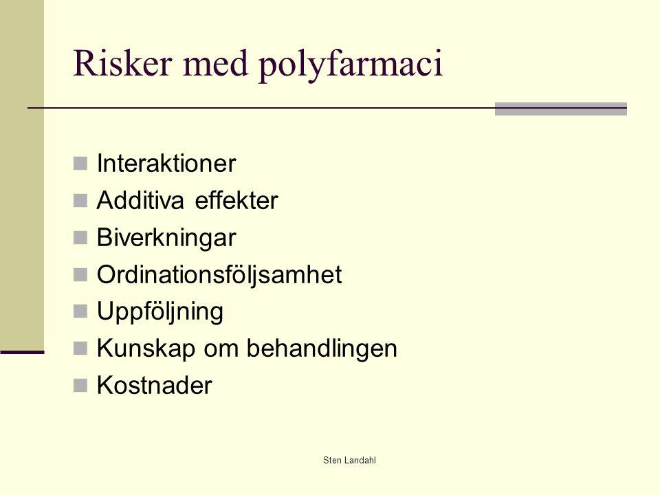 Sten Landahl Risker med polyfarmaci Interaktioner Additiva effekter Biverkningar Ordinationsföljsamhet Uppföljning Kunskap om behandlingen Kostnader