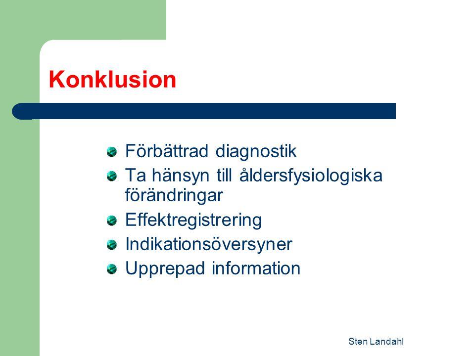 Konklusion Förbättrad diagnostik Ta hänsyn till åldersfysiologiska förändringar Effektregistrering Indikationsöversyner Upprepad information