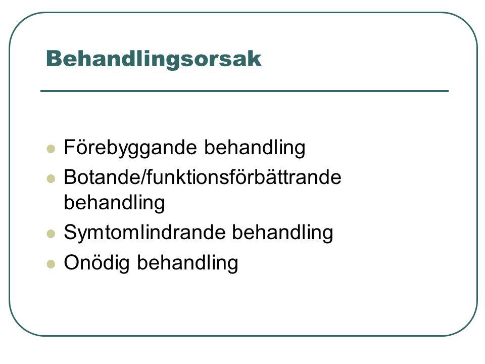 Behandlingsorsak Förebyggande behandling Botande/funktionsförbättrande behandling Symtomlindrande behandling Onödig behandling