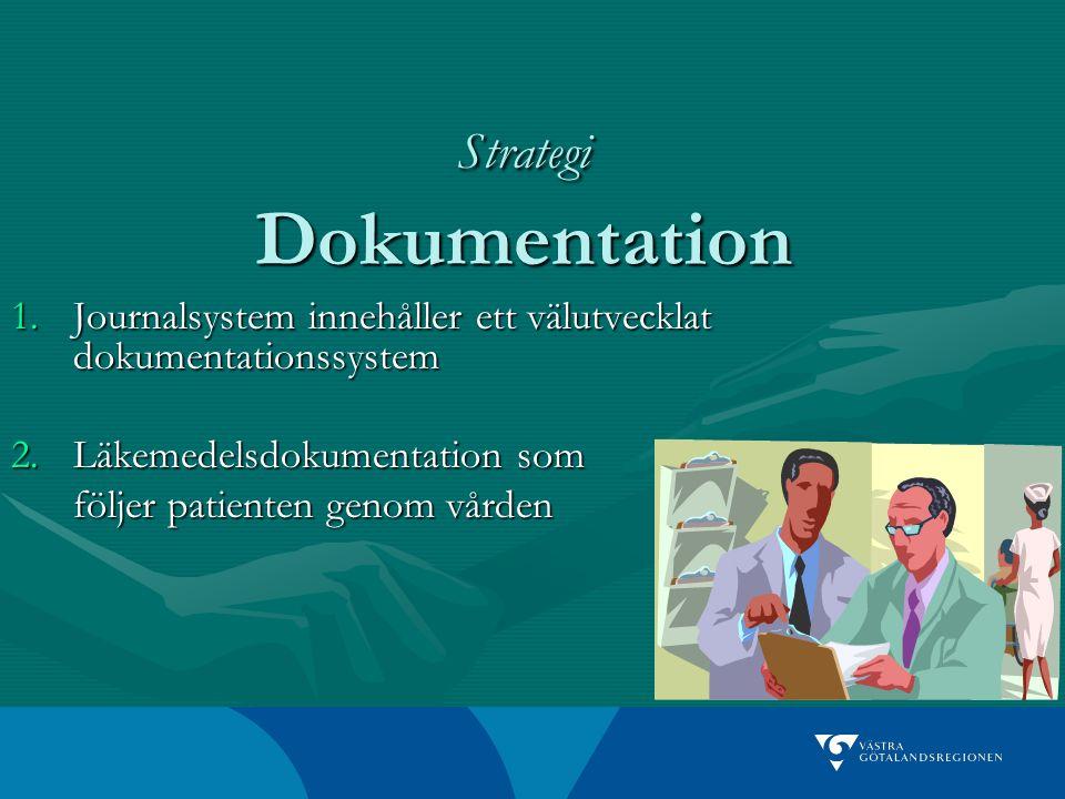 Strategi Dokumentation 1.Journalsystem innehåller ett välutvecklat dokumentationssystem 2.Läkemedelsdokumentation som följer patienten genom vården