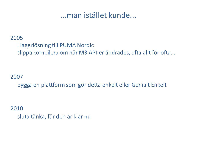 2005 I lagerlösning till PUMA Nordic slippa kompilera om när M3 API:er ändrades, ofta allt för ofta... 2007 bygga en plattform som gör detta enkelt el