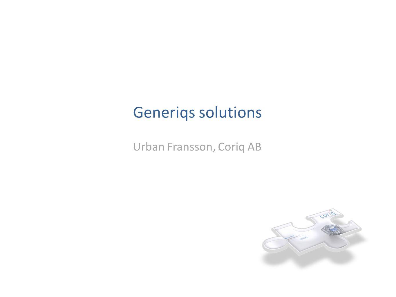 Generiqs solutions Urban Fransson, Coriq AB