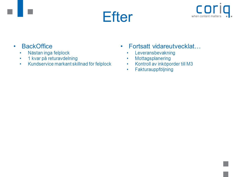 Efter BackOffice Nästan inga felplock 1 kvar på returavdelning Kundservice markant skillnad för felplock Fortsatt vidareutvecklat… Leveransbevakning M