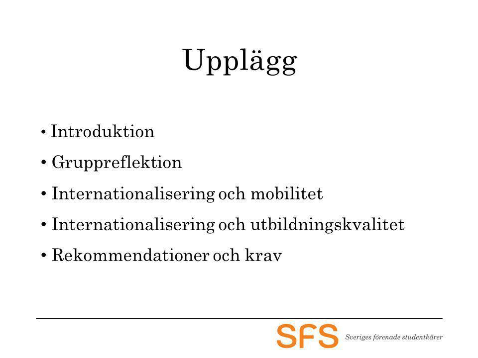 Upplägg Introduktion Gruppreflektion Internationalisering och mobilitet Internationalisering och utbildningskvalitet Rekommendationer och krav