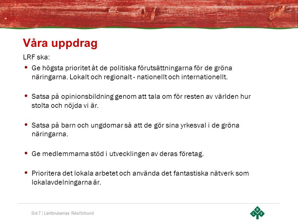 Sid 7 | Lantbrukarnas Riksförbund Våra uppdrag LRF ska: Ge högsta prioritet åt de politiska förutsättningarna för de gröna näringarna. Lokalt och regi
