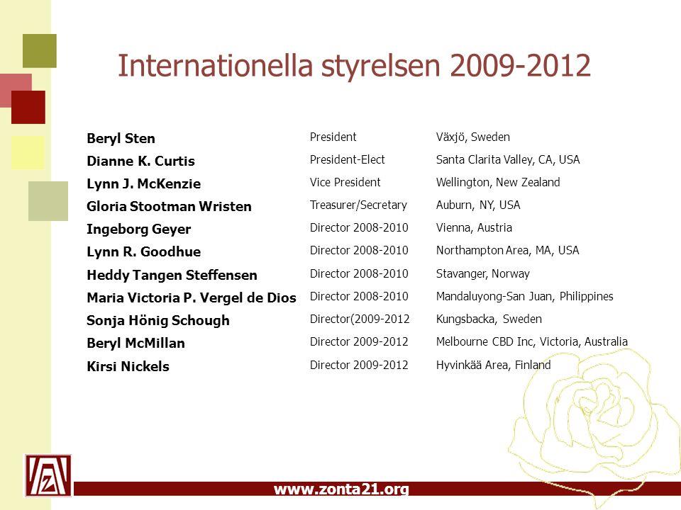 www.zonta21.org Internationella styrelsen 2009-2012 Beryl Sten PresidentVäxjö, Sweden Dianne K.