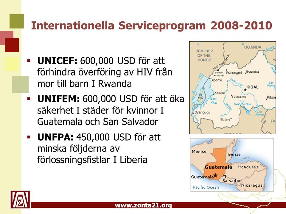 www.zonta21.org Internationella Serviceprogram 2008-2010  UNICEF: 600,000 USD för att förhindra överföring av HIV från mor till barn I Rwanda  UNIFEM: 600,000 USD för att öka säkerhet I städer för kvinnor I Guatemala och San Salvador  UNFPA: 450,000 USD för att minska följderna av förlossningsfistlar I Liberia