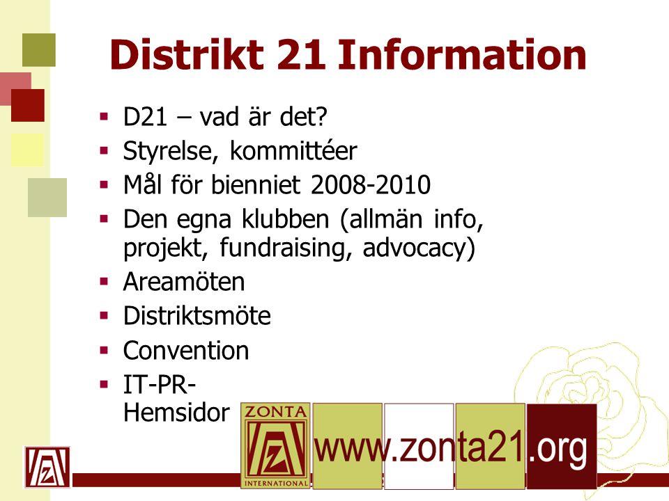 www.zonta21.org Distrikt 21 Information  D21 – vad är det.