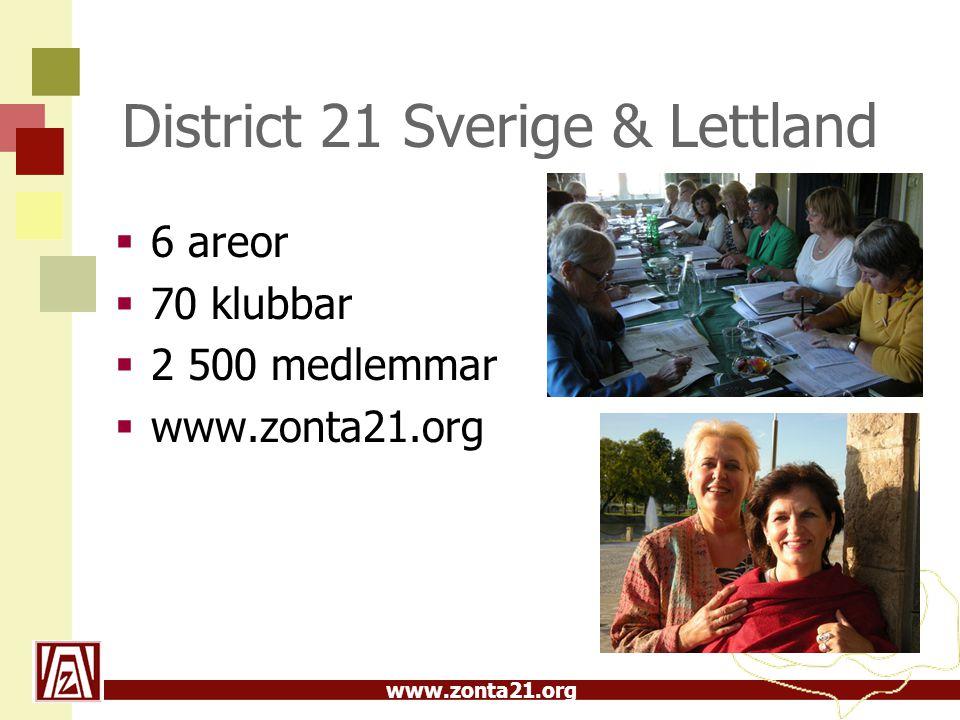 www.zonta21.org District 21 Sverige & Lettland  6 areor  70 klubbar  2 500 medlemmar  www.zonta21.org