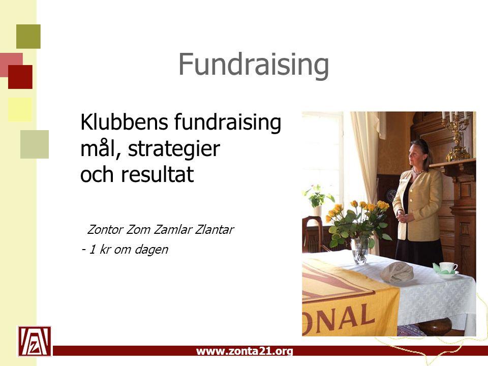 www.zonta21.org Fundraising Klubbens fundraising mål, strategier och resultat Zontor Zom Zamlar Zlantar - 1 kr om dagen