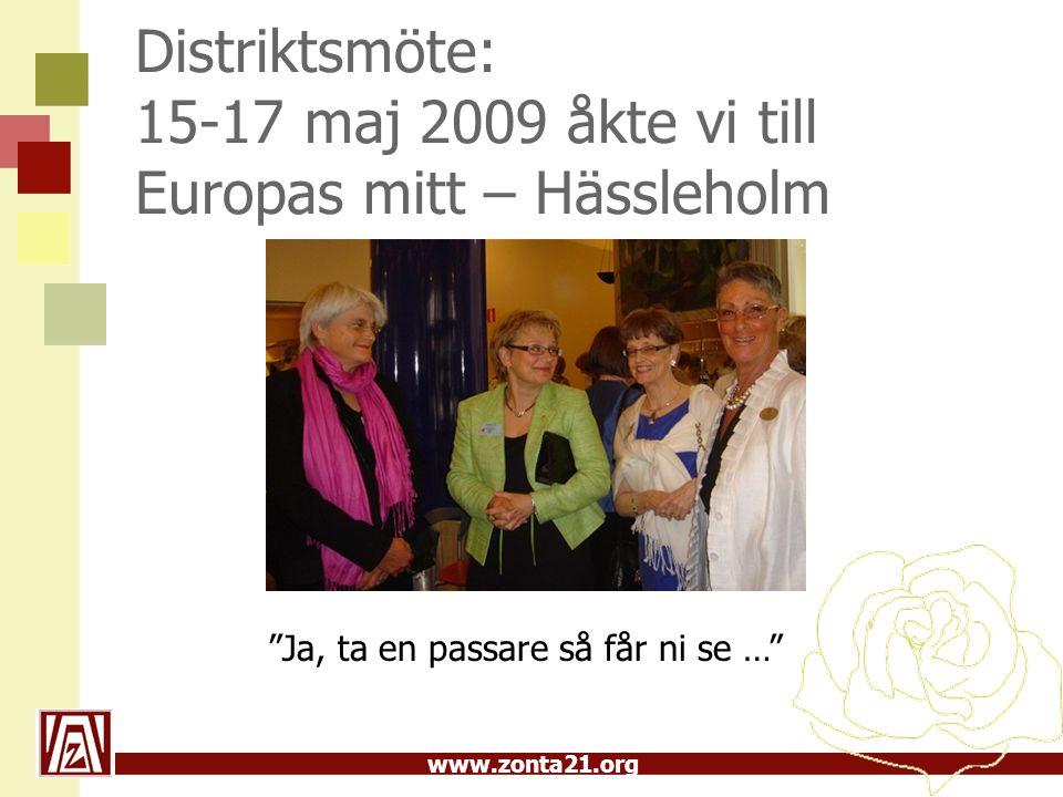 www.zonta21.org Distriktsmöte: 15-17 maj 2009 åkte vi till Europas mitt – Hässleholm Ja, ta en passare så får ni se …