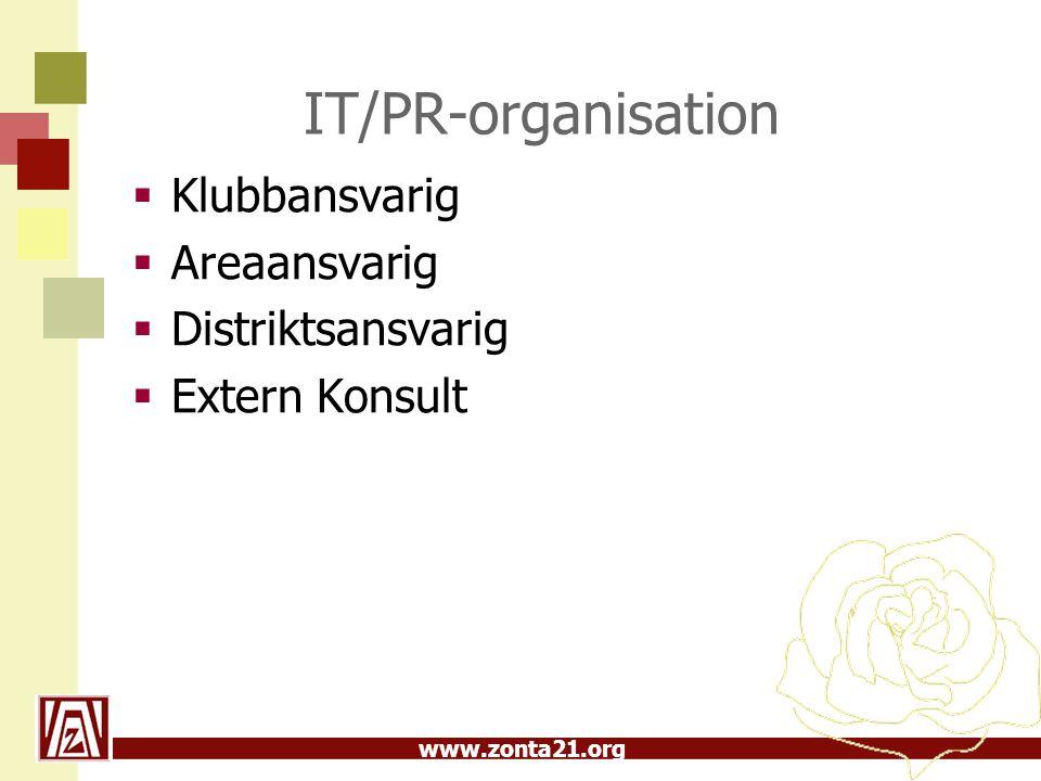 www.zonta21.org IT/PR-organisation  Klubbansvarig  Areaansvarig  Distriktsansvarig  Extern Konsult